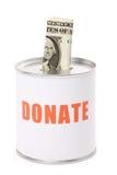 Caixa do dólar e da doação Fotografia de Stock