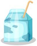 Caixa do leite com palha Fotografia de Stock Royalty Free