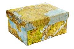 Caixa do mapa de mundo fotografia de stock