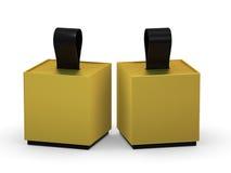 Caixa do ouro que empacota com punho da fita, trajeto de grampeamento incluído ilustração stock