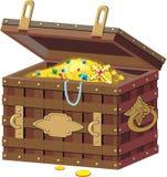 Caixa do pirata com tesouros. Fotos de Stock Royalty Free