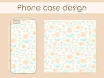 Caixa do telefone com projeto floral do teste padrão Fotografia de Stock