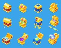 Caixa do tesouro do vetor do ícone da caixa com riqueza do dinheiro do ouro ou as caixas de madeira do pirata com moedas douradas Fotografia de Stock