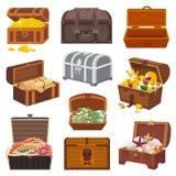 Caixa do tesouro do vetor da caixa com riqueza do dinheiro do ouro ou caixas de madeira do pirata com moedas douradas e as joias  Foto de Stock Royalty Free
