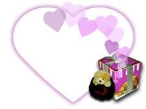 Caixa do urso e de presente Foto de Stock