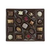 Caixa dos chocolates no fundo branco tiro do Alto-ângulo Foto de Stock Royalty Free
