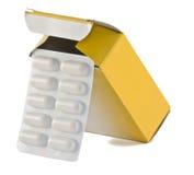 Caixa dos comprimidos Imagens de Stock
