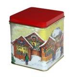Caixa dos doces do Natal com tampa vermelha Fotografia de Stock