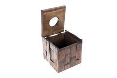 Caixa dos tecidos que abrem feita da madeira Fotos de Stock