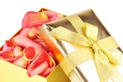 Caixa dourada completamente das pétalas de rosas fotografia de stock
