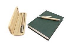 Caixa e bloco de notas de lápis Imagem de Stock Royalty Free