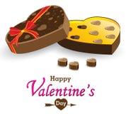 Caixa e caixa de presente do coração isoladas no fundo branco Caixa do chocolate do dia e do coração de Valentim isolada no fundo Fotos de Stock Royalty Free