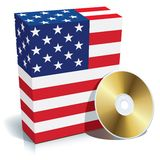 Caixa e CD americanos do software Imagem de Stock Royalty Free