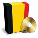 Caixa e CD belgas do software Fotografia de Stock