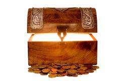 Caixa e dinheiro de tesouro Imagens de Stock