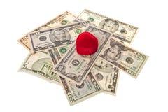 Caixa e dinheiro do anel Fotos de Stock Royalty Free