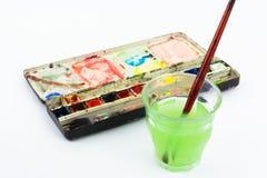 Caixa e escova da aguarela Fotografia de Stock