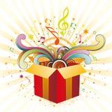 caixa e música de presente Imagem de Stock