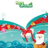 Caixa e ornamento de Santa Claus In Chimney With Gift ilustração do vetor