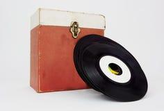 Caixa e registros de 45 registros Imagem de Stock