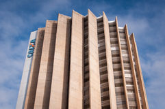 Caixa Economica Federal Building. Brasilia, Brazil - June 6, 2015: Caixa Economica Federal headquarters building. It is the fourth largest bank in Brazil by Royalty Free Stock Images