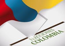Caixa eleitoral, cartão e bandeira colombiana para eleições evento, ilustração do vetor Imagens de Stock Royalty Free