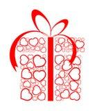 Caixa estilizado do presente do amor feita dos corações vermelhos Imagem de Stock Royalty Free