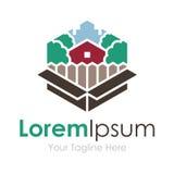Caixa feita sob encomenda da paisagem bonita da natureza da casa ideal do logotipo simples do ícone do negócio ilustração do vetor