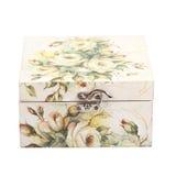 Caixa floral do teste padrão decorada com papel do decoupage Fotografia de Stock