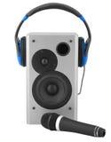 Caixa, fones de ouvido e microfone do altofalante Fotos de Stock