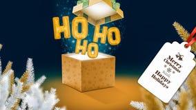 Caixa mágica do Natal com balões do voo fotografia de stock