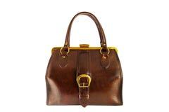 Caixa marrom do vintage com curvatura dourada, saco Imagens de Stock Royalty Free