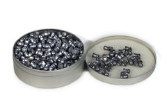 Caixa metálica com balas pneumáticas Fotos de Stock Royalty Free