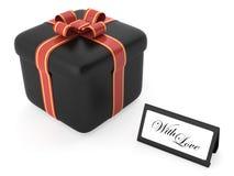 A caixa negra com um presente do amor Imagens de Stock
