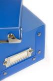 Caixa plástica azul fotografia de stock royalty free