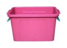 Caixa plástica cor-de-rosa isolada no branco Fotos de Stock