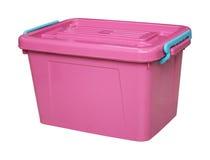 Caixa plástica cor-de-rosa isolada no branco com clippingpath Imagem de Stock