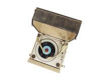 Caixa portátil do jogador de registro da plataforma giratória do vintage Fotografia de Stock