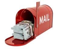 Caixa postal com blocos do dólar rendição 3d ilustração royalty free