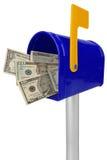Caixa postal com dinheiro americano Foto de Stock Royalty Free