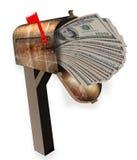 Caixa postal completamente do dinheiro imagem de stock royalty free