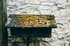 Caixa postal de madeira do vintage coberta com o musgo Imagem de Stock Royalty Free