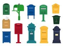 Caixa postal do cargo do vetor da caixa postal ou caixa de letra postal do enviamento americano ou do europeu e do grupo de postb Fotos de Stock