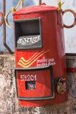 Caixa postal pública vermelha em Madikeri, Índia Imagens de Stock Royalty Free