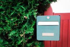 Caixa postal verde do vintage em uma cerca de madeira vermelha com thuya macio Imagem de Stock Royalty Free