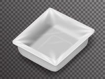 Caixa realística isolada do pacote da loja 3d do alimento bloco descartável isométrico com projeto transparente do fundo do model Fotos de Stock Royalty Free