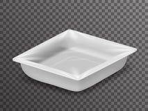 Caixa realística isométrica isolada do pacote da loja 3d do alimento bloco descartável com projeto transparente do fundo do model Imagem de Stock Royalty Free