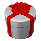 Caixa redonda, fita amarrada com uma curva rendição 3d Fotografia de Stock Royalty Free
