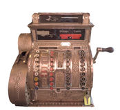 Caixa registadora do vintage isolada no branco Foto de Stock
