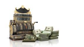 A caixa registadora velha do vintage com dinheiro e 3d rendem na parte traseira do branco Imagens de Stock